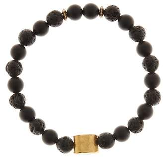 Jean Claude Gold Plated Sterling Silver Beaded Onyx & Lava Stone Stretch Bracelet