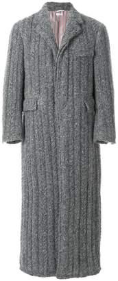 Thom Browne Horseshoe-Knit Wool Chesterfield Overcoat