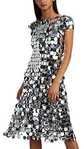 Paco Rabanne Women's Paillette-Embellished Chain-Mail Midi-Dress - Silver