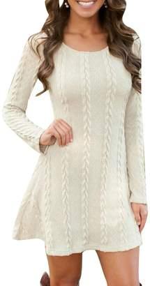 BU2H-Women BU2H Womens Casual Long Sleeve Slim Fit Knitted Sweater Tunic Dress USL