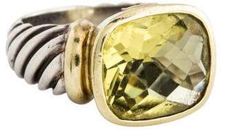 David Yurman Two-Tone Lemon Quartz Noblesse Ring