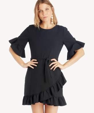Sole Society Asymmetrical Ruffled Edge Wrap Dress