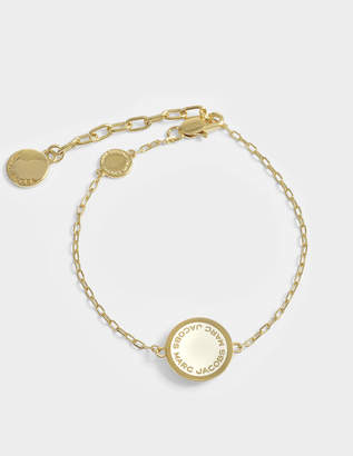 Marc Jacobs Logo Disc Bracelet in Cream Brass