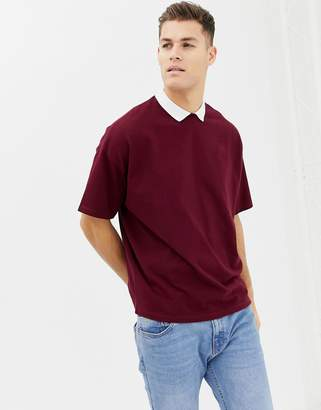 Asos DESIGN oversized polo shirt in heavyweight pique fabric with inserted neck in burgundy
