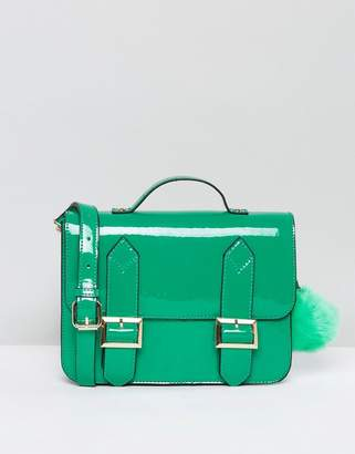 Asos Satchel Bag With Detachable Strap And Pom