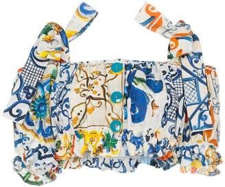 Dolce & Gabbana cold-shoulder majolica print ruffle cotton cropped blouse