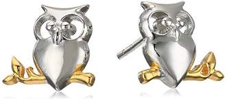 Rhodium Plated Sterling Two Tone Owl Stud Earrings
