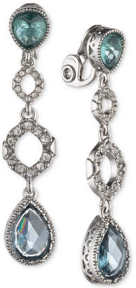 Jenny Packham Silver-Tone Pave & Stone Clip-On Drop Earrings