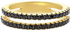 Freida Rothman Pave Black CZ Stones Two-Row Band Ring