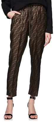 Fendi Women's Houndstooth Stretch-Wool Tweed Drawstring Pants
