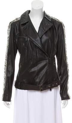 Haute Hippie Leather Embellished Jacket