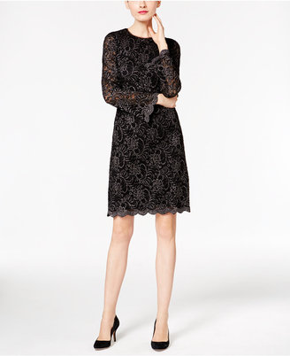 INC International Concepts Metallic Flocked Lace Dress, Only at Macy's $149.50 thestylecure.com
