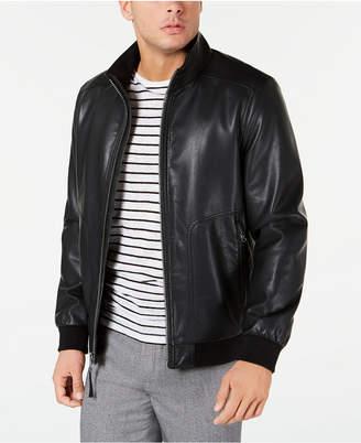 Calvin Klein Men Faux Leather Bomber Jacket