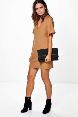 boohoo Choker Neck Plunge Shift Dress