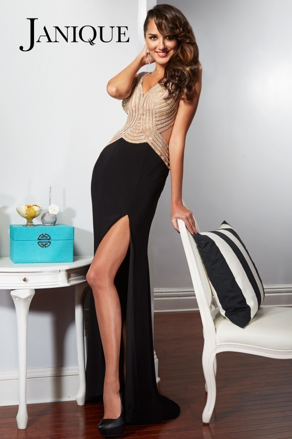 Janique - Beaded Sheer Long Gown With High Slit 1601