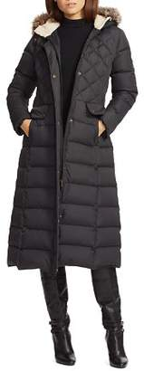 Ralph Lauren Faux Fur Trim Maxi Puffer Coat