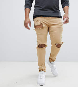 Asos Sixth June Skinny Fit Jeans In Stone With Distressing exclusive to