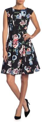 Gabby Skye Floral Printed Fit & Flare Dress