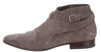 Saint Laurent Suede Cropped Jodphur Ankle Boots