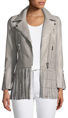 Nour Hammour Saint Lambskin Leather Moto Jacket with Studded Fringe Hem