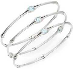 John Hardy Bamboo Swiss Blue Topaz & Sterling Silver Bangle Set