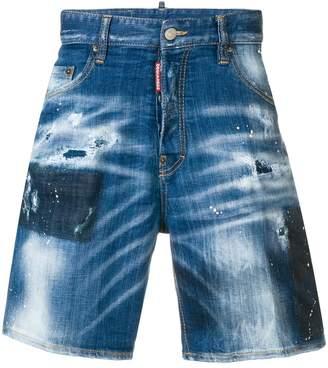 DSQUARED2 paint splatter distressed denim shorts