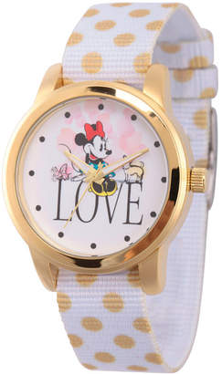 DISNEY MINNIE MOUSE Disney Minnie Mouse Womens White Strap Watch-Wds000257