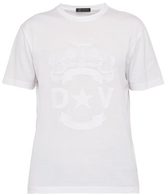 Versace Logo Crest Embroidered T Shirt - Mens - White