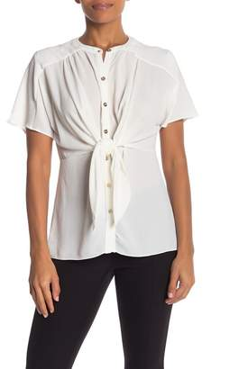 ECI Solid Button Tie Front Top