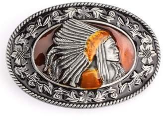 SAM. Store Vintage Indian Warrior Chief Belt Buckle Western Cowboy Native American (IW-07S)