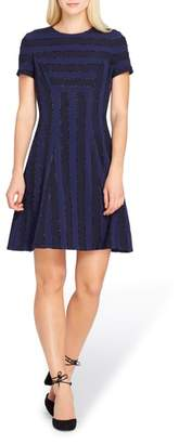 Tahari Metallic Stripe Fit & Flare Dress