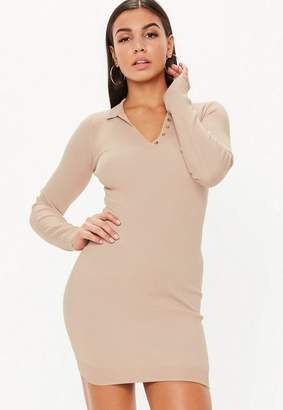 Missguided Button Collar Long Sleeve Knitted Mini Dress