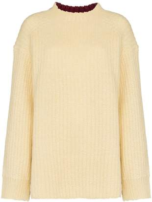 Calvin Klein oversized contrast back wool mohair-blend sweater