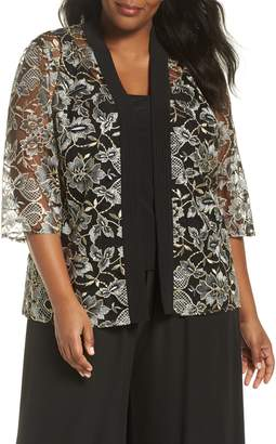 Alex Evenings Metallic Embroidered Twinset