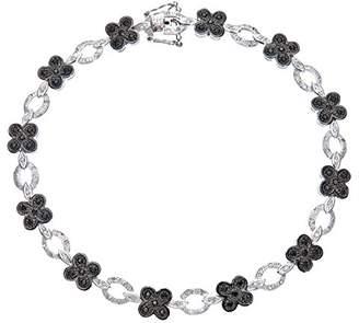 Black Diamond Naava Women's 9 ct White Gold Flower Link Bracelet