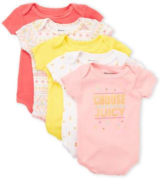 Juicy Couture Newborn Girls) 5-Pack Assorted Bodysuits
