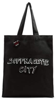 Bella Freud X Gillian Wearing Suffragette City Canvas Tote Bag - Womens - Black