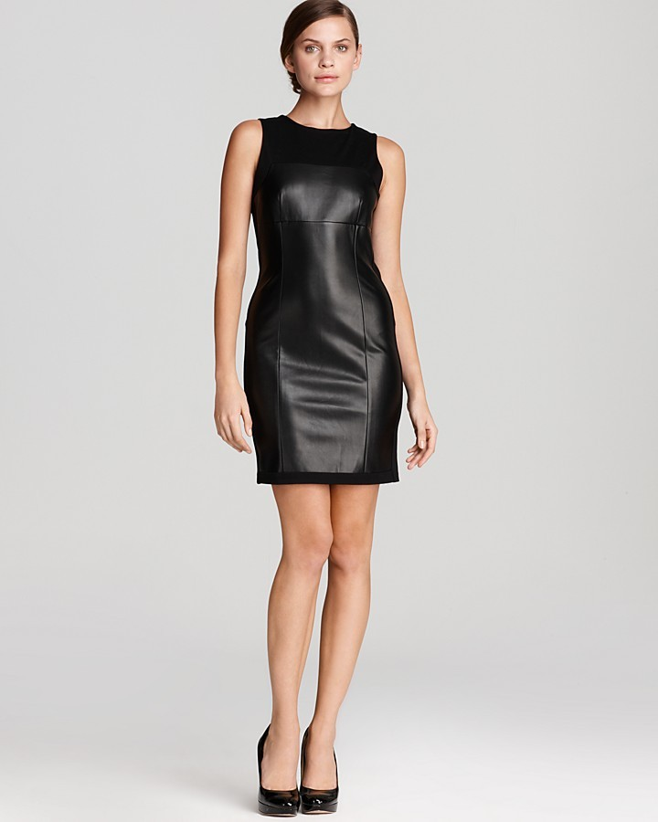DKNY DKNYC Sleeveless Dress with Faux Leather Front