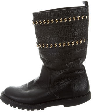 Tory BurchTory Burch Leather Chain-Embellished Ankle Boots