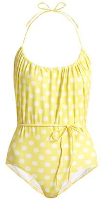 Lisa Marie Fernandez Charlotte Polka Dot Print Halterneck Swimsuit - Womens - Yellow Multi