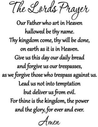 VWAQ The Lord's Prayer Bible Wall Decal Our Father Vinyl Wall Art Scripture Quote Faith Home Christian Decor Stickers by VWAQ