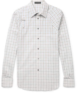Alexander McQueen Slim-Fit Harness-Detailed Checked Brushed-Cotton Shirt - Ivory