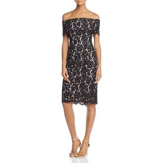 Eliza J Womens Lace Off-The-Shoulder Cocktail Dress Black