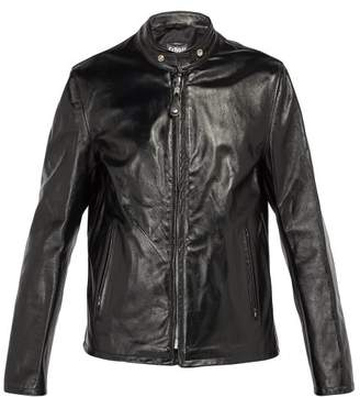 Schott - Mandarin Collar Leather Jacket - Mens - Black