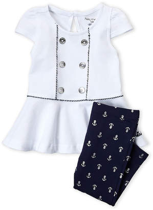 Nautica Infant Girls) Two-Piece Cap Sleeve Peplum Top & Anchor Print Leggings Set