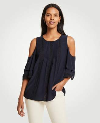 Ann Taylor Lacy Pintucked Cold Shoulder Top