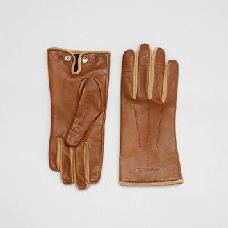 Burberry Embossed Logo Cashmere-lined Lambskin Gloves