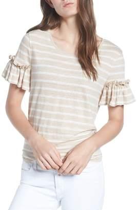 Chelsea28 Stripe Ruffle Sleeve Linen Tee