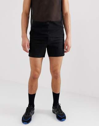 Asos Design DESIGN high waisted skinny chino shorts in black