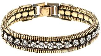 Black Diamond Halo & Co Crystal And Rope Chain Cuff In Dark Antique Gold Colour